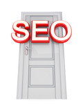 White door with a red word SEO.