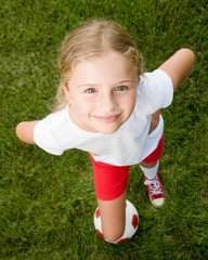 Football - portrait of young lovely footballer