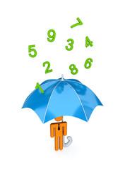 big umbrella under the rain of numbers.