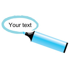 Vector illustration of blue marker with space for your text