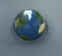 splash from the falling globe