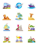 Travel, holidays and vacation icons set
