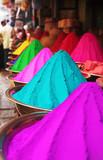 Fototapety Colorful piles of holi powder dye at mysore market