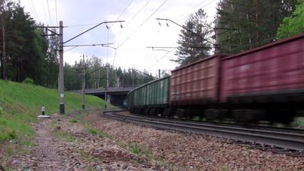 Cargo train passes under the bridge