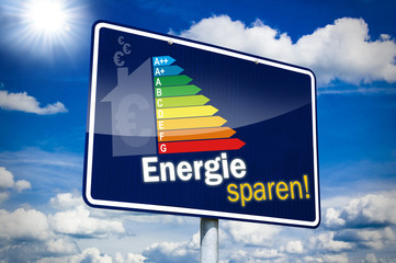 Hinweisschild mit Energie sparen