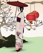 Piękna gejsza w orientalnym ogrodzie