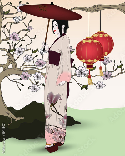 beautiful geisha in an oriental garden