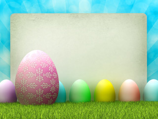 Easter background - colored eggs and copy space