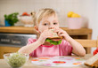 little girl with sandwich