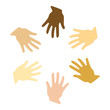 Vector illustration of different hands (symbol of peace)