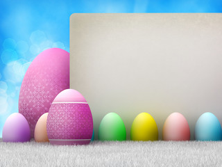Happy Easter - colored eggs and copy space - Template design