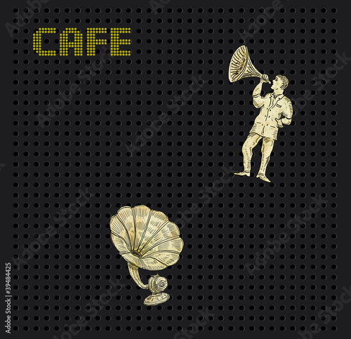 Cafe theme with gramophone