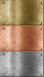 metal plates set including bronze (copper), gold (brass) and alu