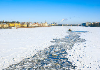 Icebreaker on Neva river. St,-Petersburg. Russia