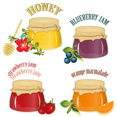 jam and honey isolated on white background