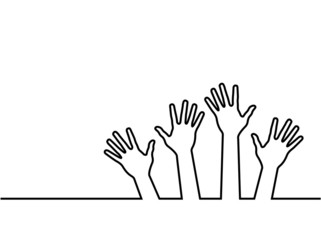 black line of hands, abstract vector illustration for design