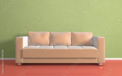 Beige modern sofa.