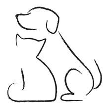 Pies i kot ikona