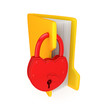 Yellow folder with a big red lock.
