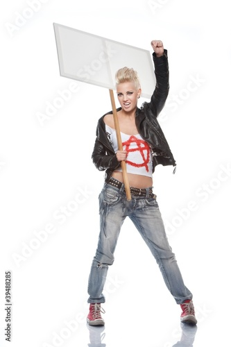 Punk girl with a blank sign