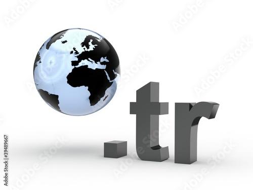 3D Domain tr mit Weltkugel
