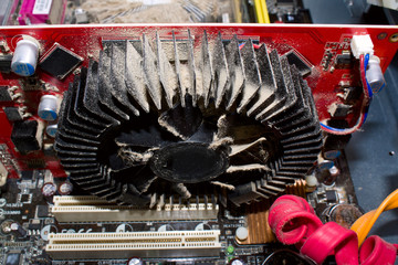Dirty cooler of a video card