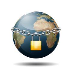 Icono planeta tierra 3d con simbolo candado y cadena