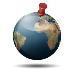 Icono planet tierra 3d con chincheta