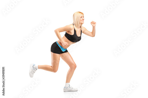 An attractive woman running