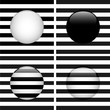 Set of Four Glass Circle Black and White Stripes