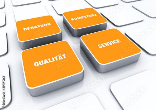 Quader Konzept Orange - Beratung Kompetenz Qualität Service 3