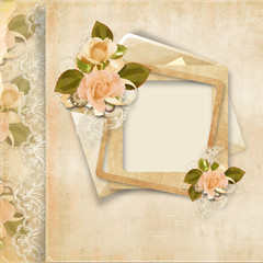 Frame with roses on vintage lace background