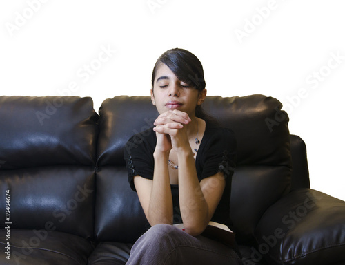 Latin Teenager Girl Having a Daily Devotional