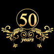 Gold 50 years with ornaments