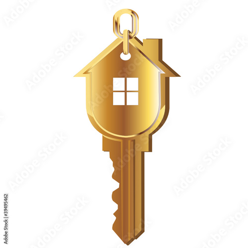 House key gold vector