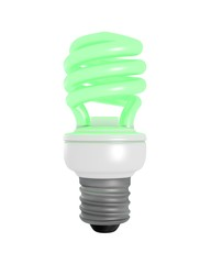 Isolated Green Glowing CFL Bulb