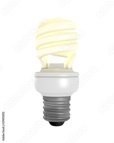 Isolated Glowing CFL Bulb