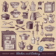 kitchen & cooking (2) - assorted vintage illustrations