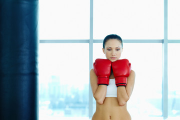 Female in boxing gloves