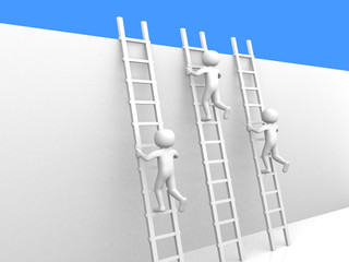 3d people climbing ladders.