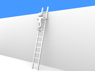 3d person climbing the ladder to sky