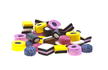 Selection of liquorice sweets in colourful abstract stack design