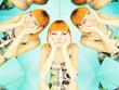 Leinwandbild Motiv Bright redhead woman in kaleidoscope