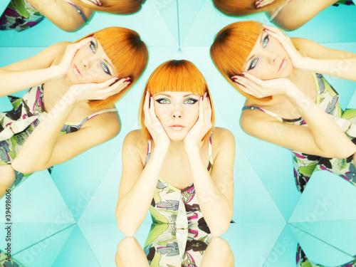 Bright redhead woman in kaleidoscope - 39498606