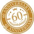 Stamp 60 anniversary, vector illustration