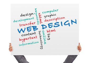 hand holding Poster web design
