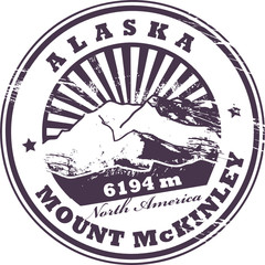 Stamp with the Mount McKinley, vector