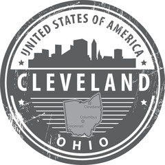 Stamp with name of Ohio, Cleveland, vector illustration