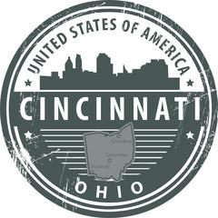 Stamp with name of Ohio, Cincinnati, vector illustration
