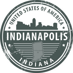 Stamp with name of Indiana, Indianapolis, vector illustration